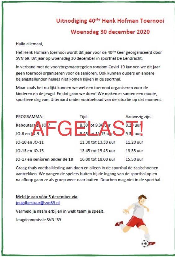 Afgelast: Henk Hofman Toernooi