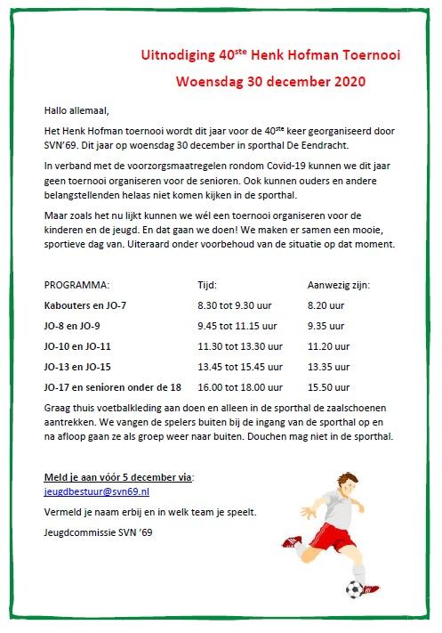 Uitnodiging 40ste Henk Hofman Toernooi -  woensdag 30 december 2020