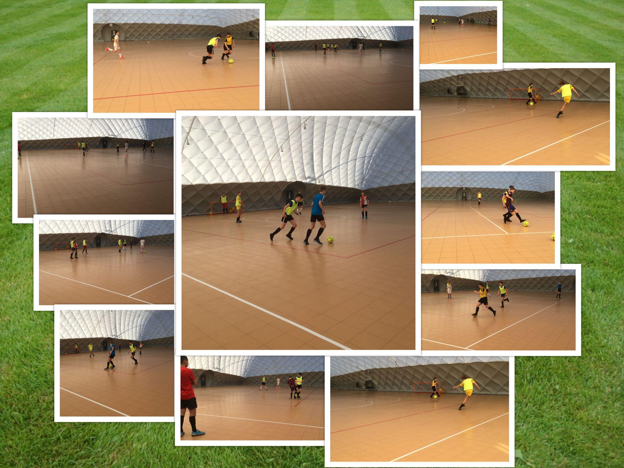 JO15-1 voetbalt in de Airdome luchthal